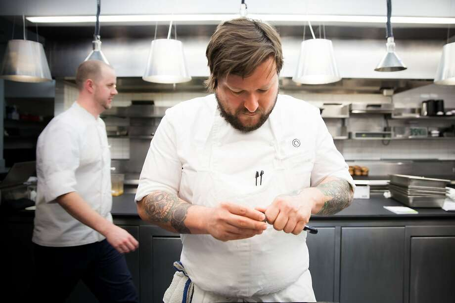 Erik Anderson (front) will take over as the new executive chef of Coi. The restaurant recently earned its third Michelin star which came under Matthew Kirkley (back). Photo: Anjali Pinto