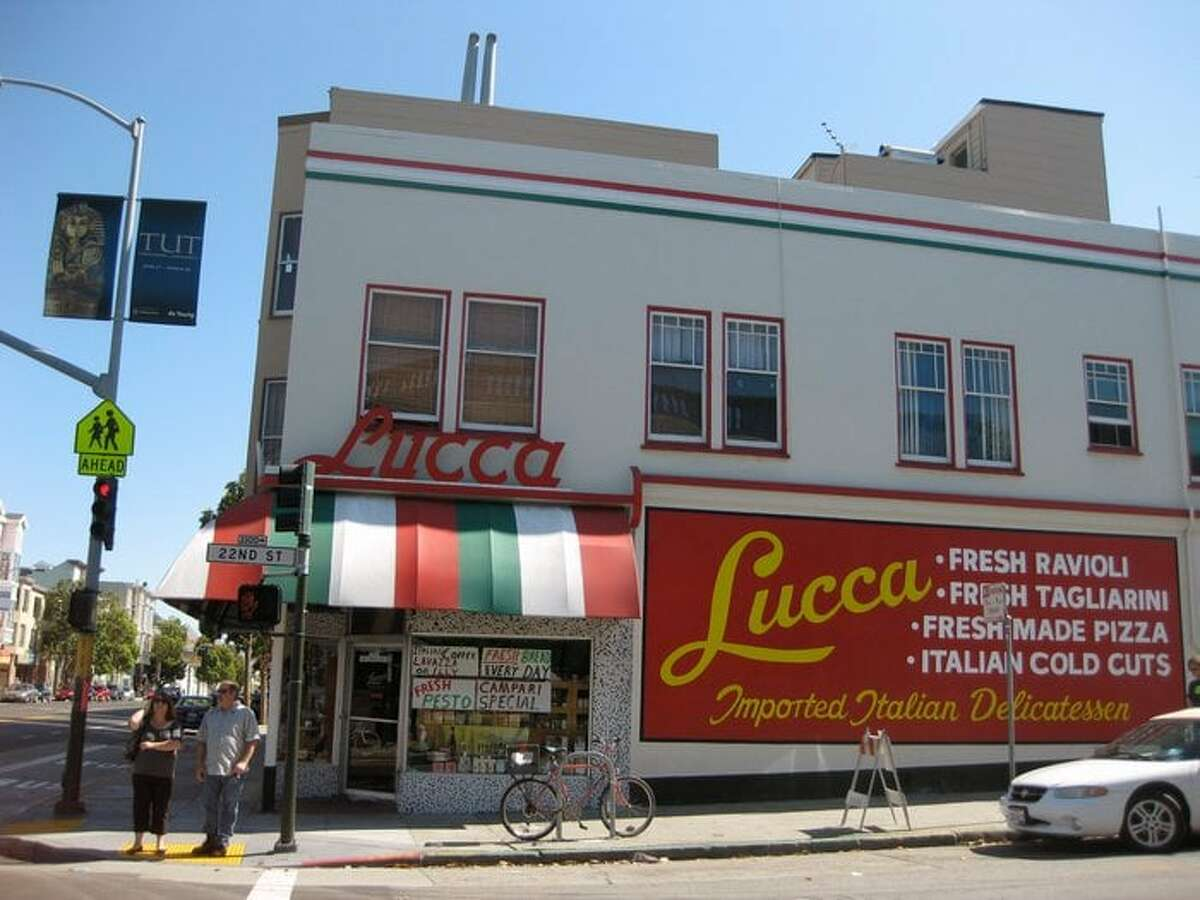 The exterior of Lucca Ravioli Co. in the Mission District.