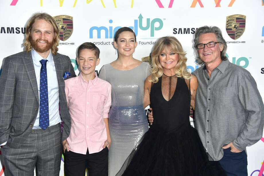 (L-R) Wyatt Russell, Ryder Robinson, Kate Hudson, Goldie Hawn and Kurt Russell , attends Goldie's Love In For Kids at Ron Burkle's Green Acres Estate on November 3, 2017 in Beverly Hills, California. Photo: Frazer Harrison/Getty Images