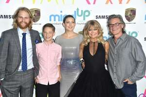 (L-R) Wyatt Russell, Ryder Robinson, Kate Hudson, Goldie Hawn and Kurt Russell , attends Goldie's Love In For Kids at Ron Burkle's Green Acres Estate on November 3, 2017 in Beverly Hills, California.