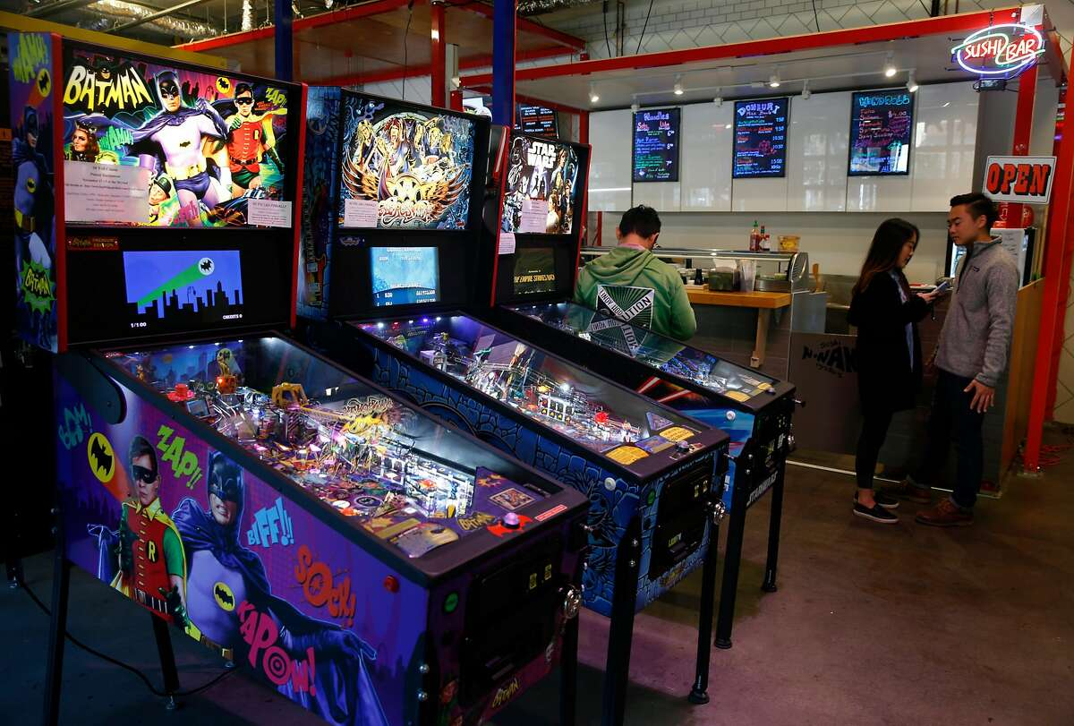 Pinball machines are inside The Myriad incubator space for start-up restaurants on the ground floor of a new residential building at Market and 15th streets in San Francisco, Calif. on Saturday, Nov. 11, 2017.
