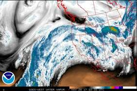 This satellite image shows a major wet front headed for the Northwest. The National Weather Service on Monday afternoon issued a flash flood watch for much of Western Washington as as much as 9 inches of rain was set to fall in the mountains through Thursday.