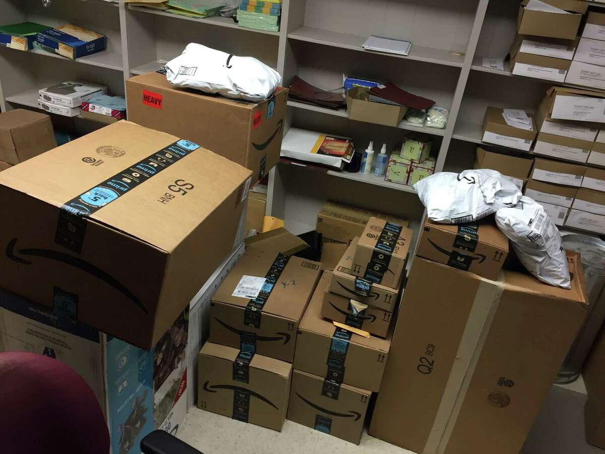 Boxes of gifts from a Pennsylvania synagogue were piled high Monday at the Texas Department of Family Services Rosenberg office.