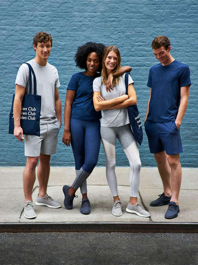 "Outdoor Voices pairs with companies like Allbirds for its ""kits"" such as this Jogwalking collection, above and right, available in navy or gray, that includes Wool Runners shoes. At left, the company's rose-toned collection. Photo: Outdoor Voices"
