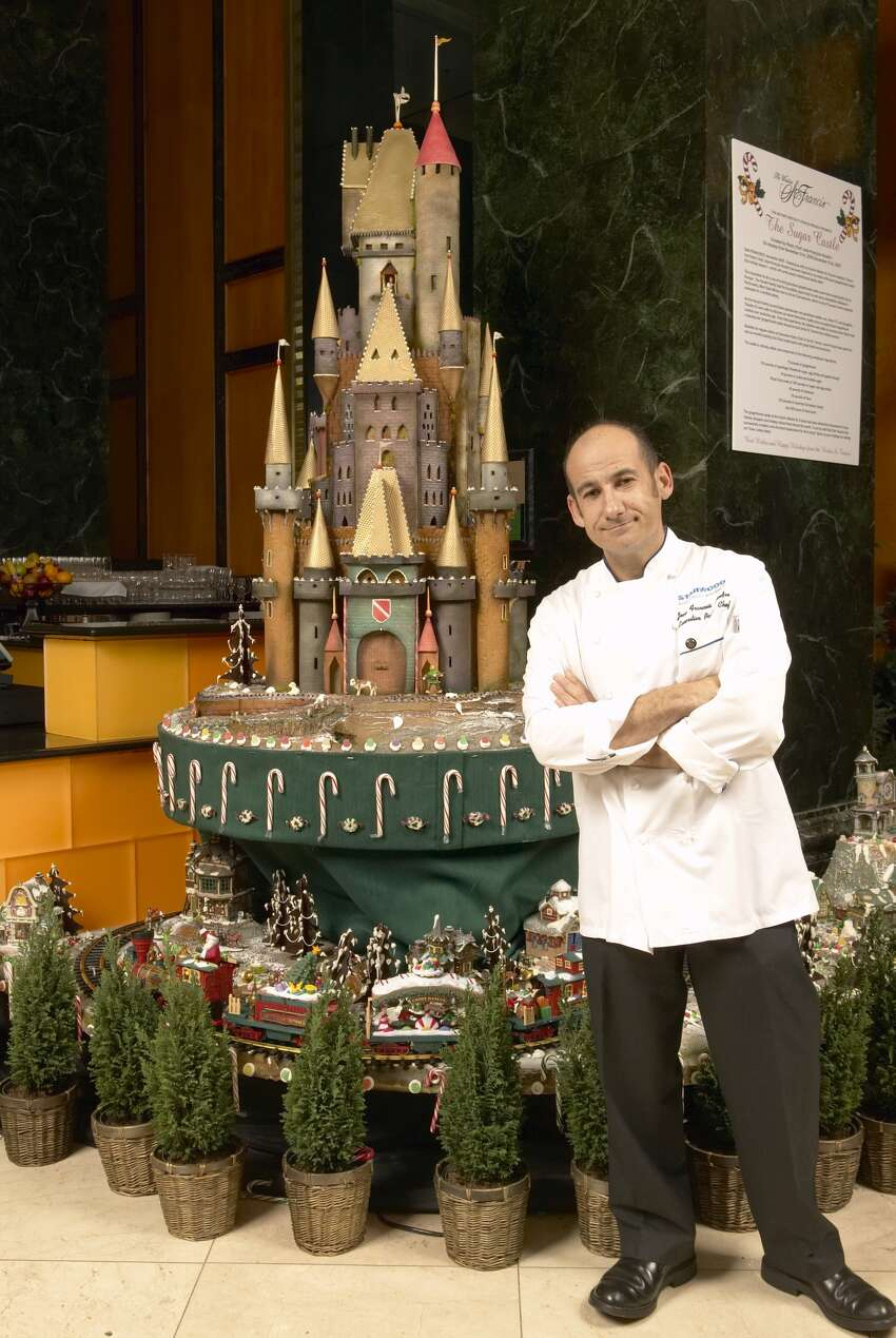 Chef Jean Francois Houdre stands next to the annual sugar castle at the Westin St. Francis in 2007, the third year the hotel unveiled one, and the first time the castle was presented in the main lobby of the hotel, off Powell Street.