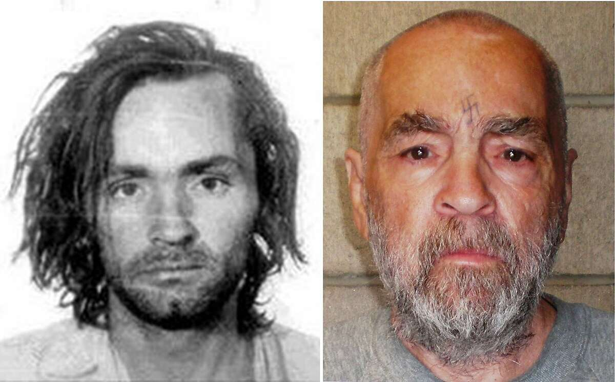 FILE - Charles Manson after his arrest in 1969, left, and in a photo released March 19, 2009 by the California Department of Corrections and Rehabilitation. Manson, who became one of the most notorious killers of the 20th century after his followers brutally murdered seven people in 1969, died on Nov. 19, 2017, in Kern County, Calif. He was 83 and had been behind bars for most of his life. (California Department of Corrections and Rehabilitation via The New York Times) -- EDITORIAL USE ONLY --