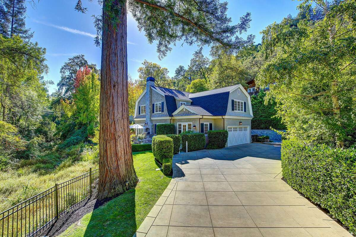 A long driveway leads to the Kentfield home�s two-car garage.