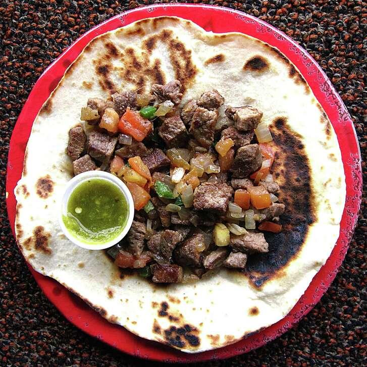 Steak mexicana taco on a handmade flour from Rita's Fiesta Cafe.