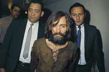 The many masks of Charles Manson. At right, Manson at his arrest in 1969. At left, top row, Manson at his 1970 trial, in court in 1971 and Manson at a 1986 parole hearing. In the bottom row, Manson in a 2009 prison photo, Manson in 2014 and one of the last photos taken of the notorious criminal in August this year.