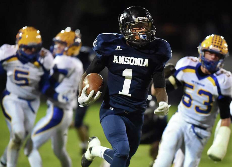 Ansonia running back Markell Dobbs has rushed for 1,293 yards on 73 carries and 25 touchdowns heading into Thursday's game at Naugatuck. Photo: Catherine Avalone / Hearst Connecticut Media / New Haven RegisterThe Middletown Press