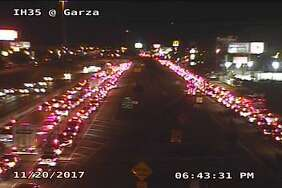 TxDOT surveillance footage shows the long lines near Laredo on Monday evening.