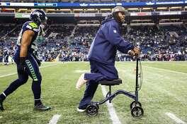 Richard Sherman at CenturyLink Field before a game versus the Atlanta Falcons, Monday, November 20, 2017.