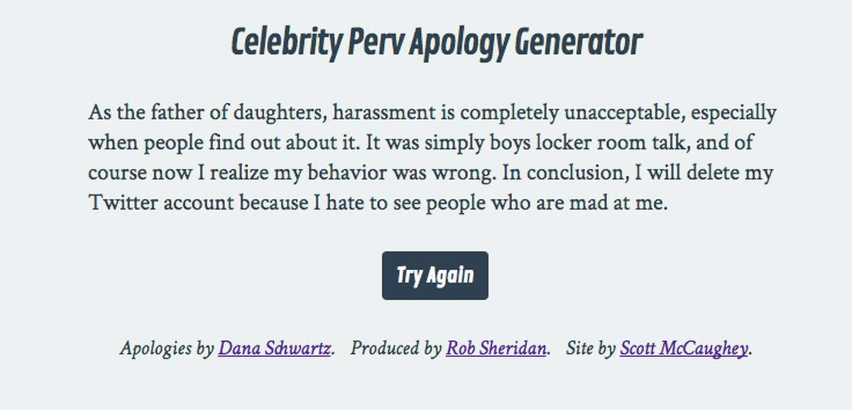 A sample apology from ApologyGenerator.com.
