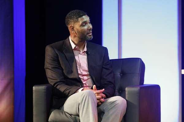 Former Wake Forest great, Tim Duncan, talks about his career during a National Collegiate Basketball Hall of Fame induction event Sunday, Nov. 19, 2017, in Kansas City, Mo. (AP Photo/Colin E. Braley)