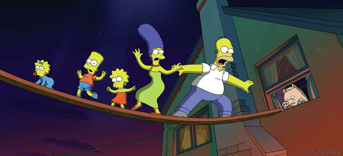 S-14 The Simpsons make a narrow escape from their besieged home ?- while Homer?'s new pet pig lags behind.