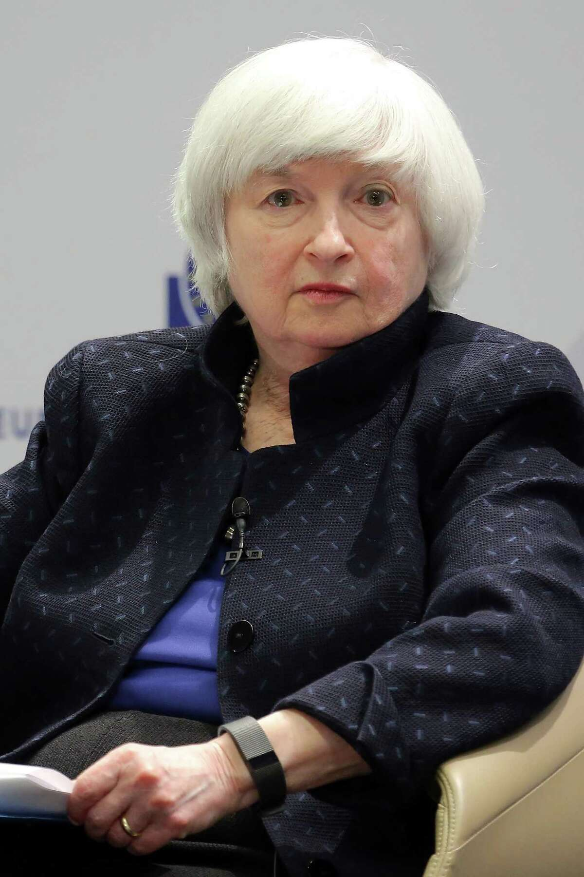 FRANKFURT AM MAIN, GERMANY - NOVEMBER 14: Janet Yellen, Chair of the Federal Reserve, in a panel to discuss central bank communication on November 14, 2017 in Frankfurt, Germany. The event, which is taking place at European Central Bank headquarters, is part of a two-day conference on central bank communication. (Photo by Hannelore Foerster/Getty Images)