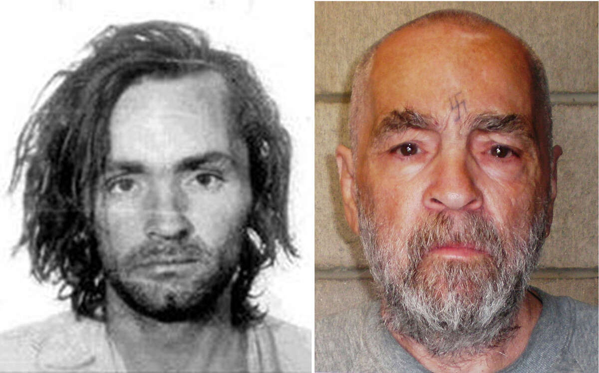 FILE - Charles Manson after his arrest in 1969, left, and in a photo released March 19, 2009 by the California Department of Corrections and Rehabilitation. Manson, who became one of the most notorious killers of the 20th century after his followers brutally murdered seven people in 1969, died on Nov. 19, 2017, in Kern County, Calif. He was 83 and had been behind bars for most of his life. (California Department of Corrections and Rehabilitation via The New York Times) -- EDITORIAL USE ONLY -- ORG XMIT: XNYT2