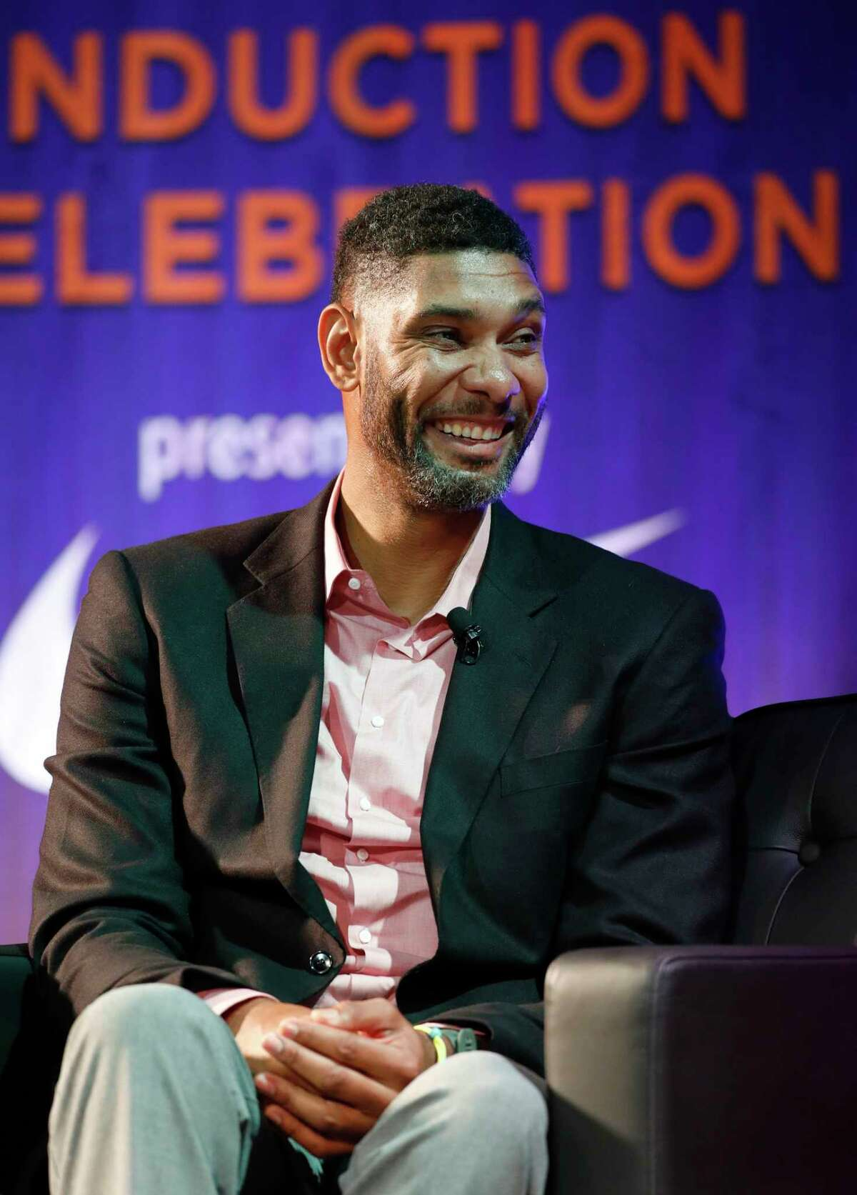 Former Wake Forest great, Tim Duncan, talks about his career during a National Collegiate Basketball Hall of Fame induction event, Sunday, Nov. 19, 2017, in Kansas City, Mo. (AP Photo/Colin E. Braley) ORG XMIT: MOCB10