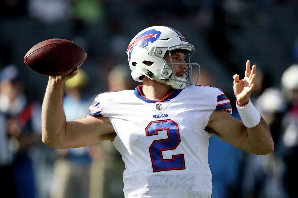 Buffalo Bills quarterback Nathan Peterman warms up before an NFL football game against the Los Angeles Chargers, Sunday, Nov. 19, 2017, in Carson, Calif. (AP Photo/Jae C. Hong) ORG XMIT: CACC101