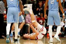 Stanford's Michael Humphrey ends up on his back after chasing a rebound during 1st half against North Carolina during Men's college basketball game at Maples Pavilion in Stanford, Calif., on Monday, November 20, 2017.