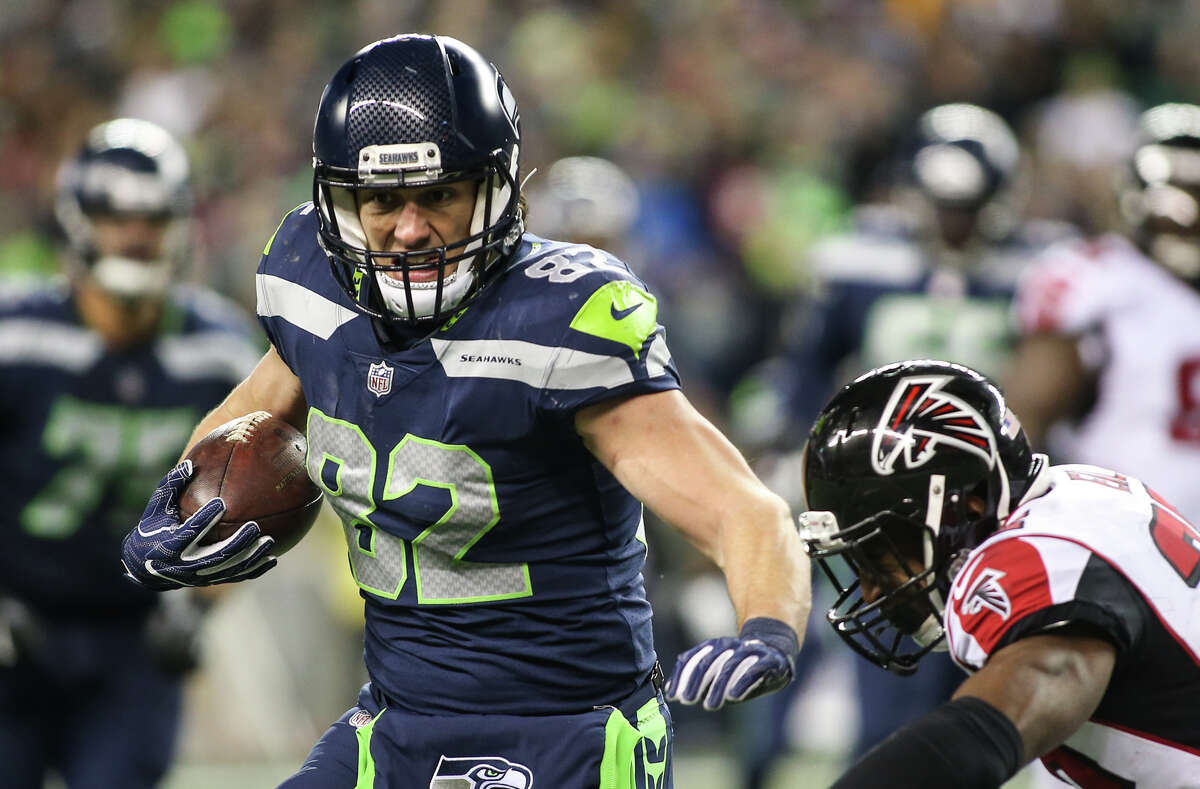 Seahawks tight end Luke Willson is chased down by Falcons safety Keanu Neal in the second half at CenturyLink Field on Monday, Nov. 20, 2017. CLICK THROUGH THE GALLERY TO SEE THE SEAHAWKS' BIGGEST FANS.