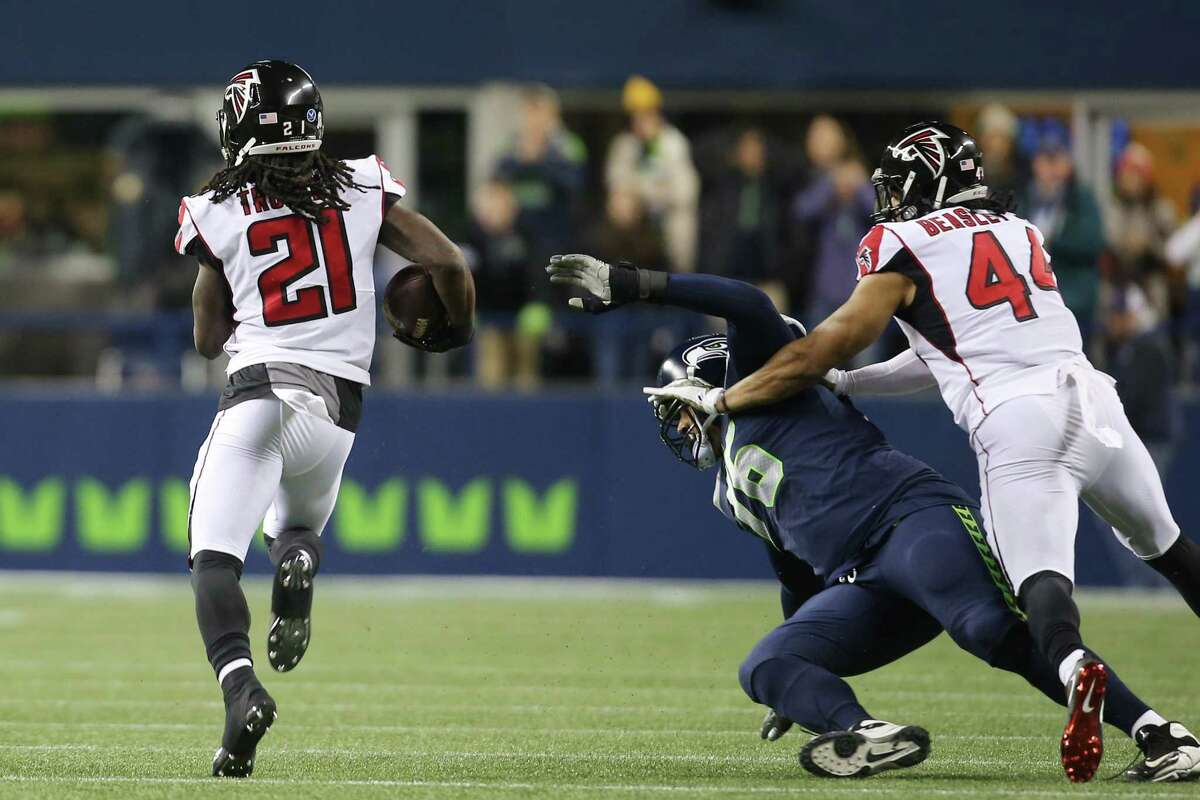 Turnovers turn to points Seattle trailed nearly the entire first half and Wilson's two turnovers were costly in that regard. Is interception on Seattle's opening drive - a poorly thrown ball behind Tyler Lockett - was picked off in Atlanta territory, then returned to Seattle's side of the field by Desmond Trufant. Atlanta scored a touchdown on the ensuing drive. Wilson was sacked in the second quarter, fumbled, and Atlanta's Adrian Clayborn recovered for a 10-yard touchdown. Seattle needed a mistake-free game to beat Atlanta and the quarterback didn't deliver that Monday night.