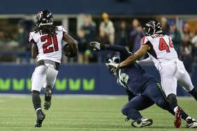 "Turnovers turn to points      Seattle trailed nearly the entire first half and Wilson's two turnovers were costly in that regard. Is interception on Seattle's opening drive – a poorly thrown ball behind Tyler Lockett – was picked off in Atlanta territory, then returned to Seattle's side of the field by Desmond Trufant. Atlanta scored a touchdown on the ensuing drive. Wilson was sacked in the second quarter, fumbled, and Atlanta's Adrian Clayborn recovered for a 10-yard touchdown. Seattle needed a mistake-free game to beat Atlanta and the quarterback didn't deliver that Monday night.      ""The turnovers really gave them a great (opportunity) and they took advantage of it, so we were playing from behind all night long,"" Carroll said."