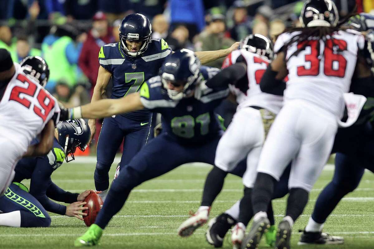 Seahawks kicker Blair Walsh kicks a field goal attempt to tie up the game in the final seconds and misses during the second half of the Seahawks game against Atlanta, Monday, Nov. 20, 2017 at CenturyLink Field.