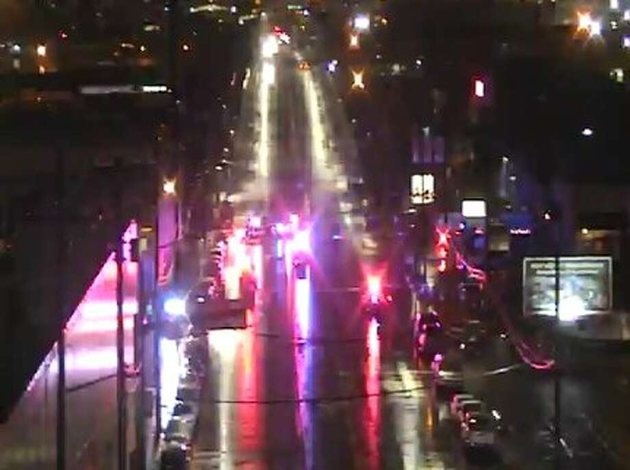 Police closed 1st Avenue South after a fatal bike/car collision Tuesday morning. Photo: SDOT