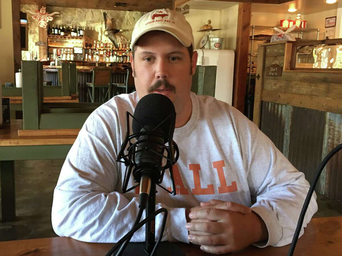 Grant Pinkerton recording BBQ State of Mind podcast at his restaurant, Pinkerton's Barbecue.