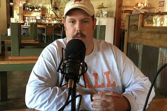 Grant Pinkerton recording BBQ State of Mind podcast at his restaurant, Pinkerton's Barbecue, Monday, Nov. 20, 2017 in Houston.