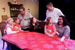 Kim (Nikki V. Thompson), Jenny (Tegan Merriman), Nick (Jeffery   Merriman), Angelina (Jean Ciampi), Jerry (Zachary Seabora), Mary (Peyton Harris)  and Sandra (Karen Rush) are featured in Pasadena Little Theatre's production of A Little   Christmas Spirit by Pat Cook.
