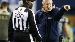 SEATTLE, WA - NOVEMBER 20: Seattle Seahawks head coach Pete Carroll yells and points towards the field during the third quarter of the game against the Atlanta Falcons at CenturyLink Field on November 20, 2017 in Seattle, Washington.  (Photo by Otto Greule Jr /Getty Images)