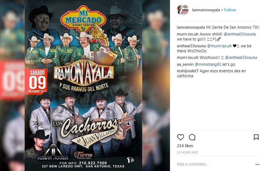 Ramón Ayala y Sus Bravos Del Norte will perform at Mi Mercado Event Center on Dec. 9, according to the Norteño and Conjunto legend's official social media pages.