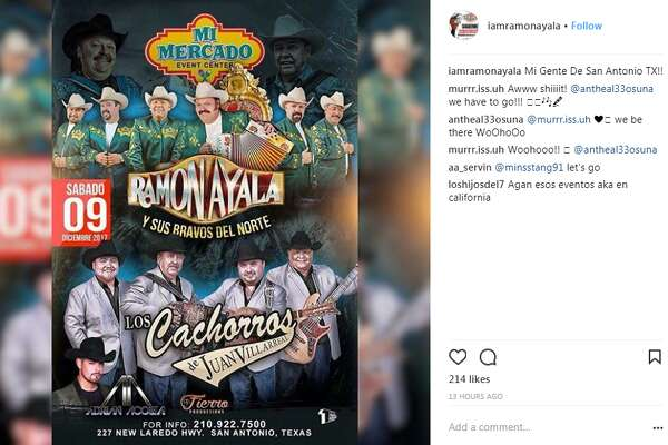Ramón Ayala y Sus Bravos Del Norte will perform at Mi Mercado Event Center on Dec. 9, according to the Norteño and Conjunto legend's official social media pages.
