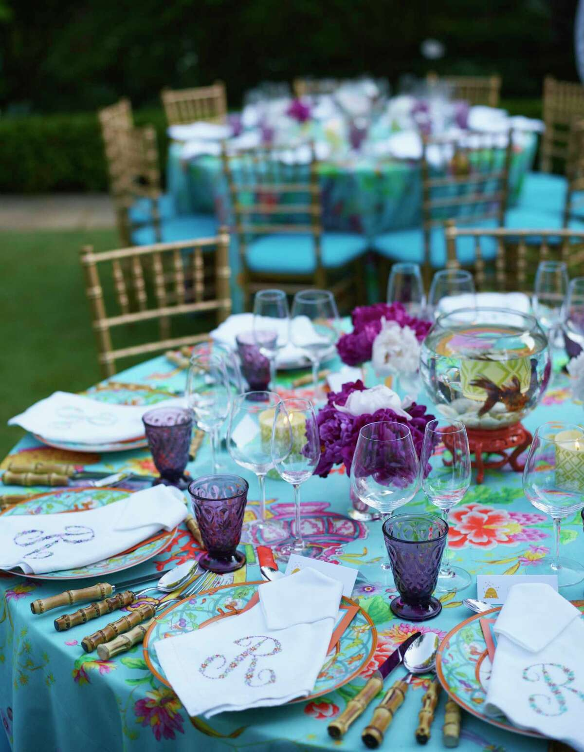 """Dinner parties require a well-set table. Provide cover if dining outdoors, and always use flowers, even if they're planted in terra cotta pots, saysDanielle Rollins, the author of """"Soiree: Entertaining with Style."""""""