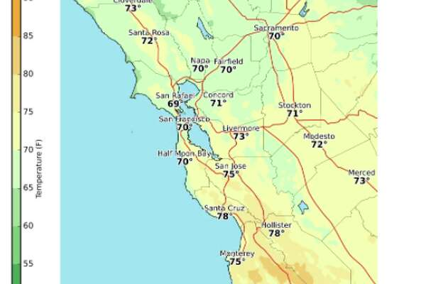 The weather will be much warmer than normal especially for spots south of San Francisco on Tuesday and Wednesday.