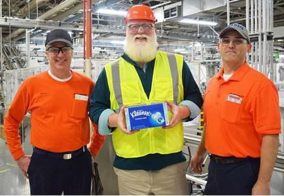 State Representative Bill Buckbee (R-67th) recently took a tour of the Kimberly-Clark mill in New Milford. He is shown above with Bruce Parker, financial manager, left, and Gary Wright, mill manager. Photo: Courtesy Of Bill Buckbee / The News-Times Contributed