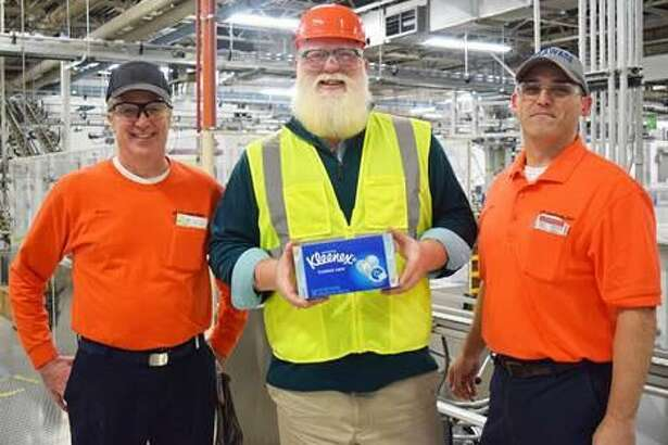 State Representative Bill Buckbee (R-67th) recently took a tour of the Kimberly-Clark mill in New Milford. He is shown above with Bruce Parker, financial manager, left, and Gary Wright, mill manager.
