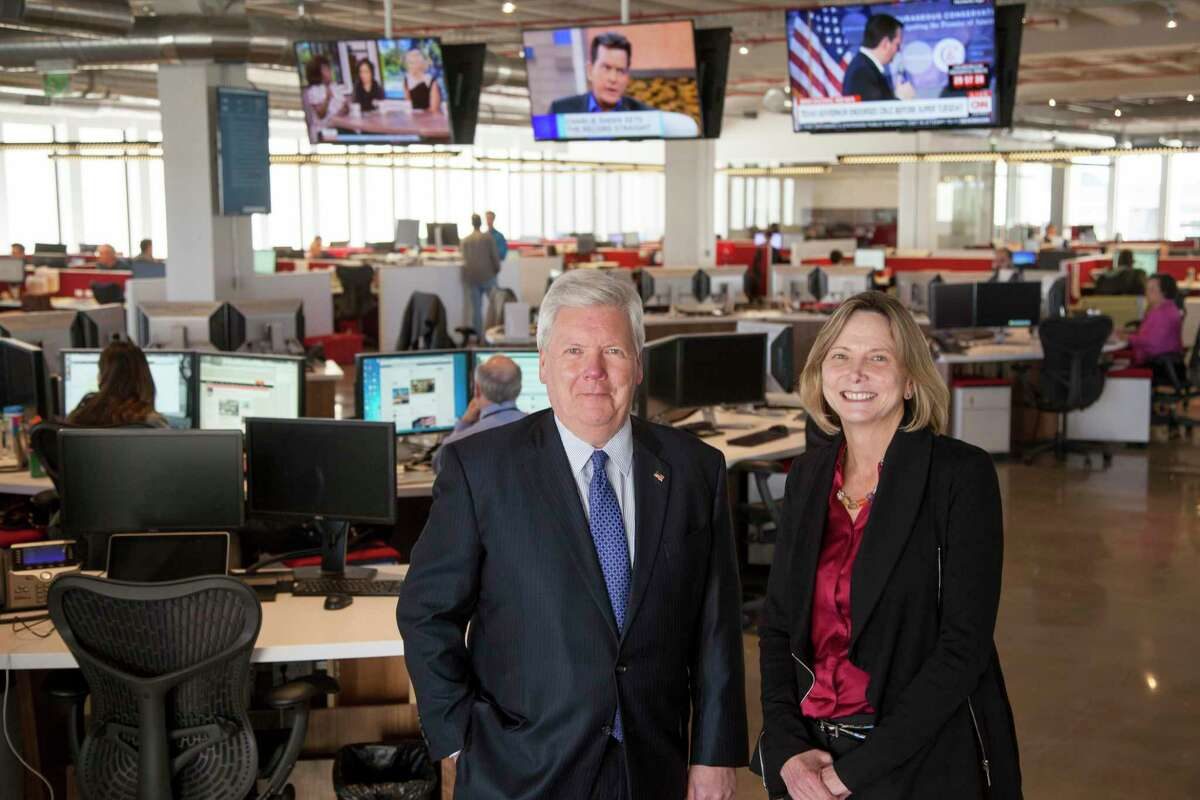 Nancy Barnes, Editor Executive Vice President of News and John McKeon, president and publisher of the Houston Chronicle Potrait for Houston Gives