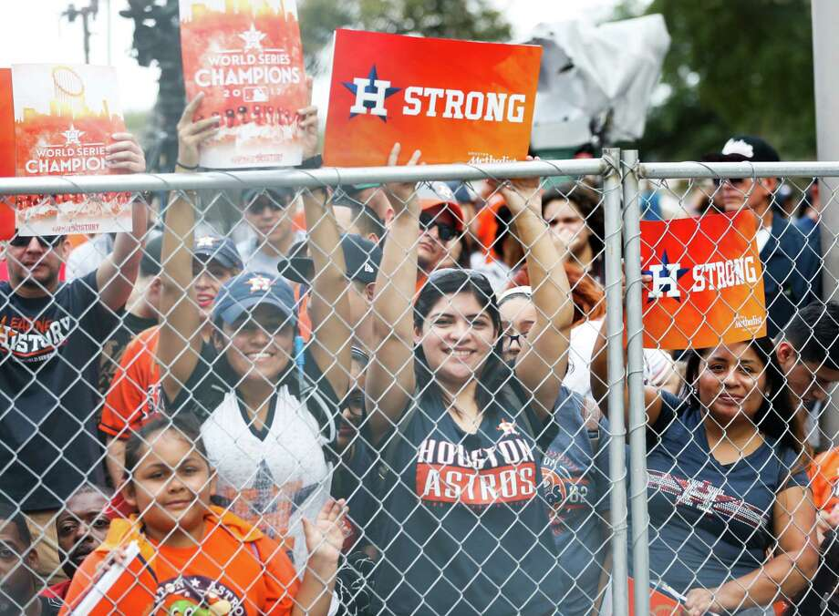 Thousands of Astros fans gathered downtown for the team's World Series victory parade.  Thousands of Astros fans gathered downtown for the team's World Series victory parade. Photo: Brett Coomer, Staff / © 2017 Houston Chronicle
