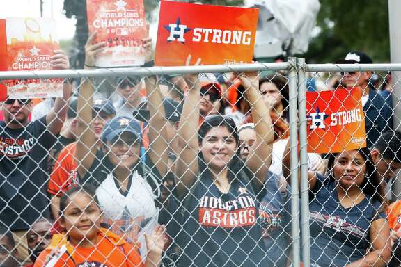 Thousands of Astros fans gathered downtown for the team's World Series victory parade.  Thousands of Astros fans gathered downtown for the team's World Series victory parade.