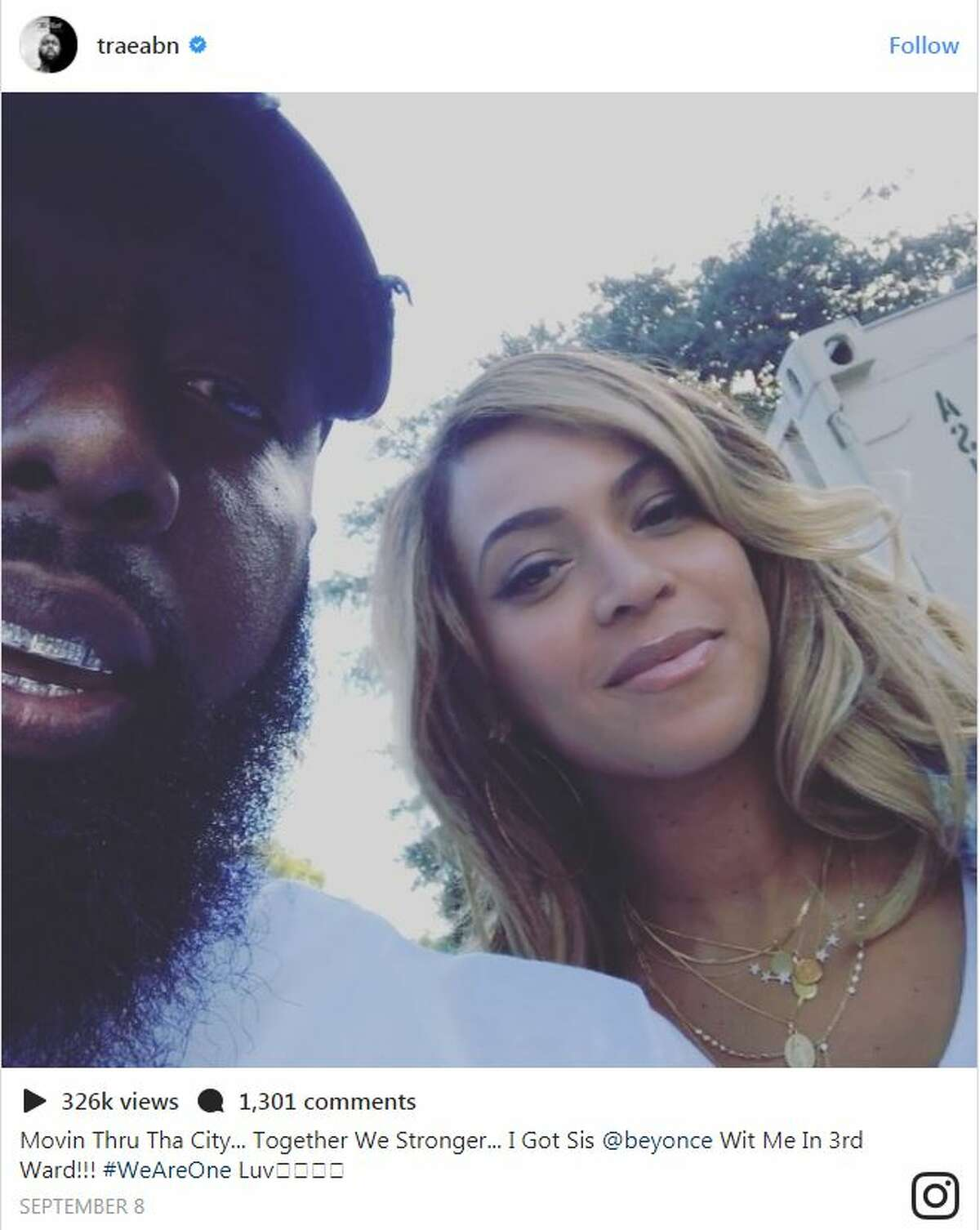 TraeThaTruth and Beyonce helped out in the Third Ward.