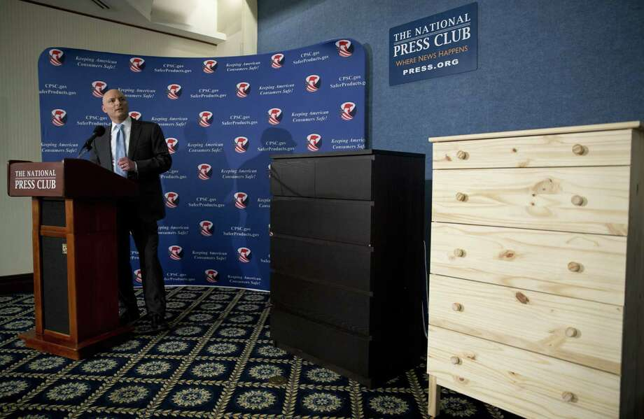 Consumer Product Safety Commission Chairman Elliot Kaye speaks during a news conference at the National Press Club in Washington in 2016. Ikea is relaunching a recall of 29 million chests and dressers after the death of an eighth child attributed to one of the dressers tipping over. Photo: Associated Press File Photo / Copyright 2016 The Associated Press. All rights reserved. This material may not be published, broadcast, rewritten or redistribu