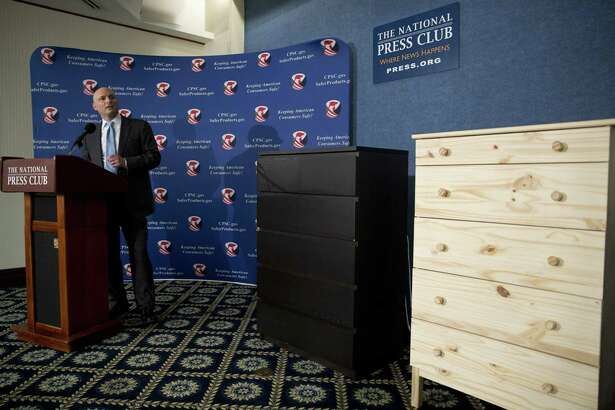 Consumer Product Safety Commission Chairman Elliot Kaye speaks during a news conference at the National Press Club in Washington in 2016. Ikea is relaunching a recall of 29 million chests and dressers after the death of an eighth child attributed to one of the dressers tipping over.