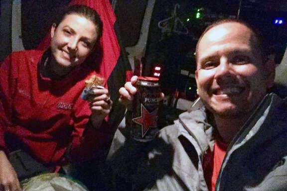 Brandi Smith and Mario Sandoval pose for a selfie in their KHOU van.Brandi Smith and Mario Sandoval pose for a selfie in their KHOU van.