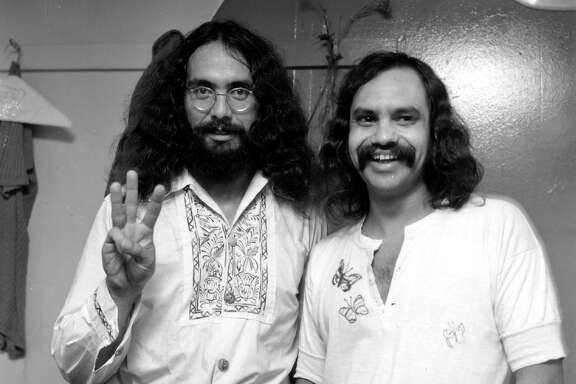 Comedy team Cheech and Chong, (L-R : Tommy Chong and Richard Cheech Marin)pose in their dressing room at Doug Weston's Troubadour on September 16, 1971 in Los Angeles.