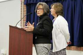 Darien High School teacher Lynda Sorensen (left) and school psychologist Eileen Whaleen