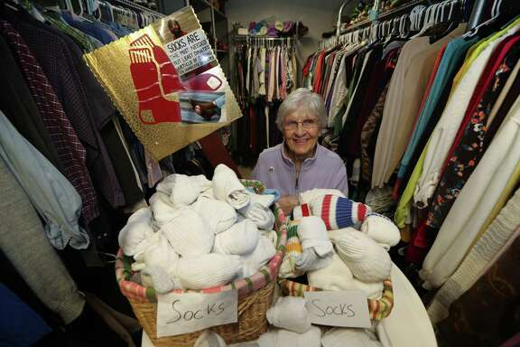 Anne Strong, 85, had a record sock-gathering year in 2016, collecting 5,667 pairs that were handed out at the SEARCH Homeless Services' new facility.  Anne Strong, 85, had a record sock-gathering year in 2016, collecting 5,667 pairs that were handed out at the SEARCH Homeless Services' new facility.