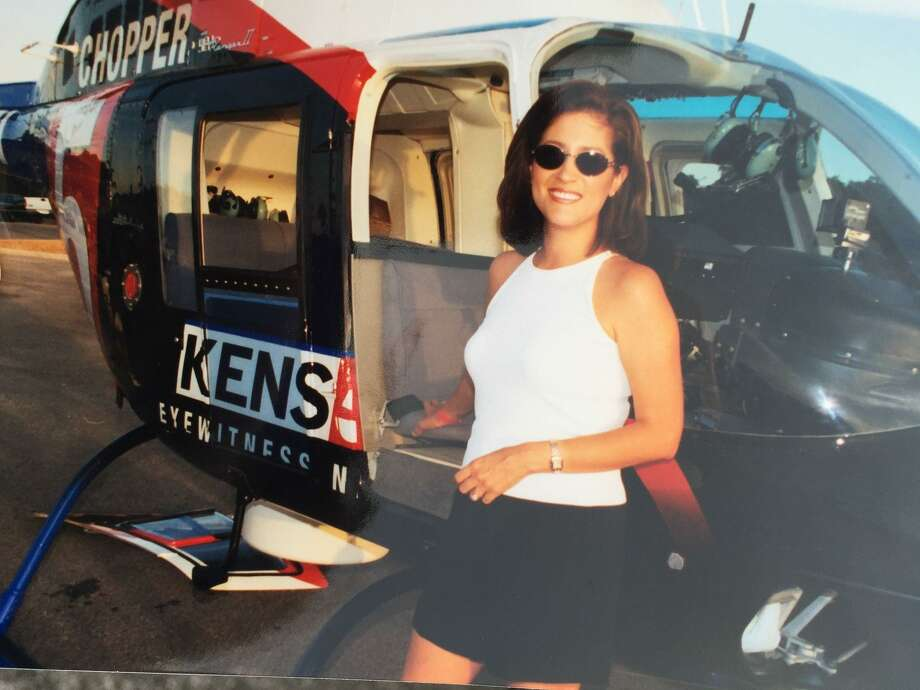 Sarah Lucero through the years: An early shot of the seasoned anchorwoman, next to another celebrity, KENS-TV's news helicopter, Chopper 5. Photo: Courtesy Photo